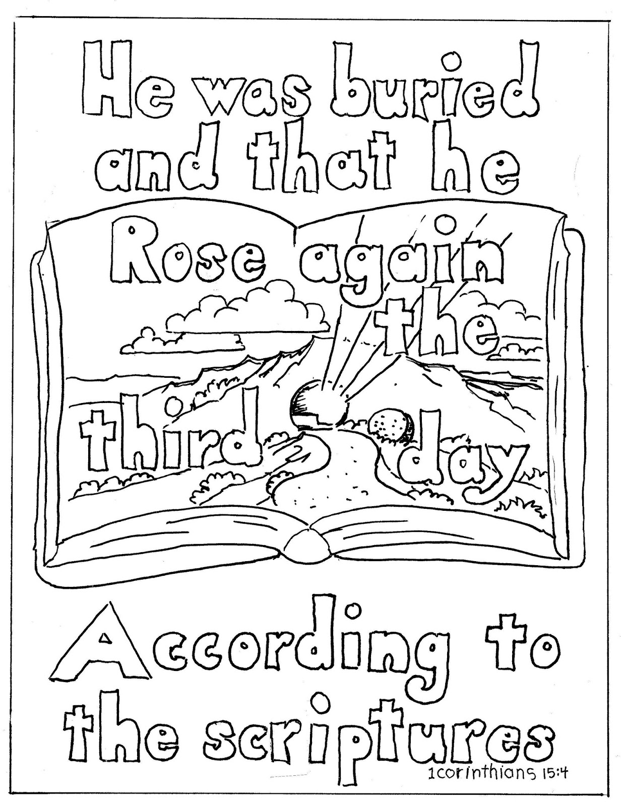 Coloring Pages For Kids By Mr Adron 1 Corinithians 15 4 Coloring Page Christ Rose Again