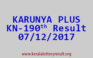 KARUNYA PLUS Lottery KN 190 Results 7-12-2017