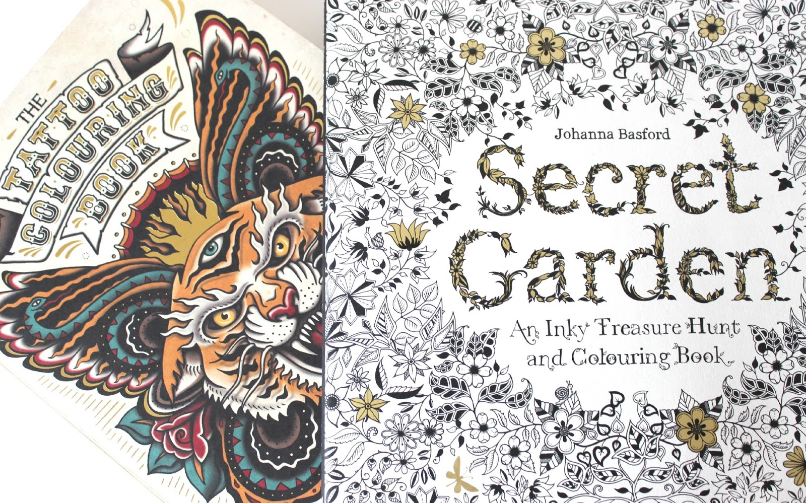 A picture of Secret Garden: An Inky Treasure Hunt and Colouring Book and The Tattoo Colouring Book