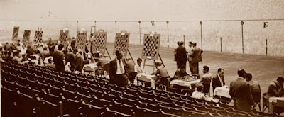 II Campeonato de España de ajedrez por equipos Bilbao-1957, sala de juego - frontón