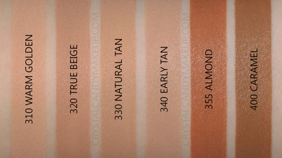 Revlon Colorstay Foundation Combination Oily Swatches 310 320 330 340 355 400 MAC NW30 NW40 NW45 NC45