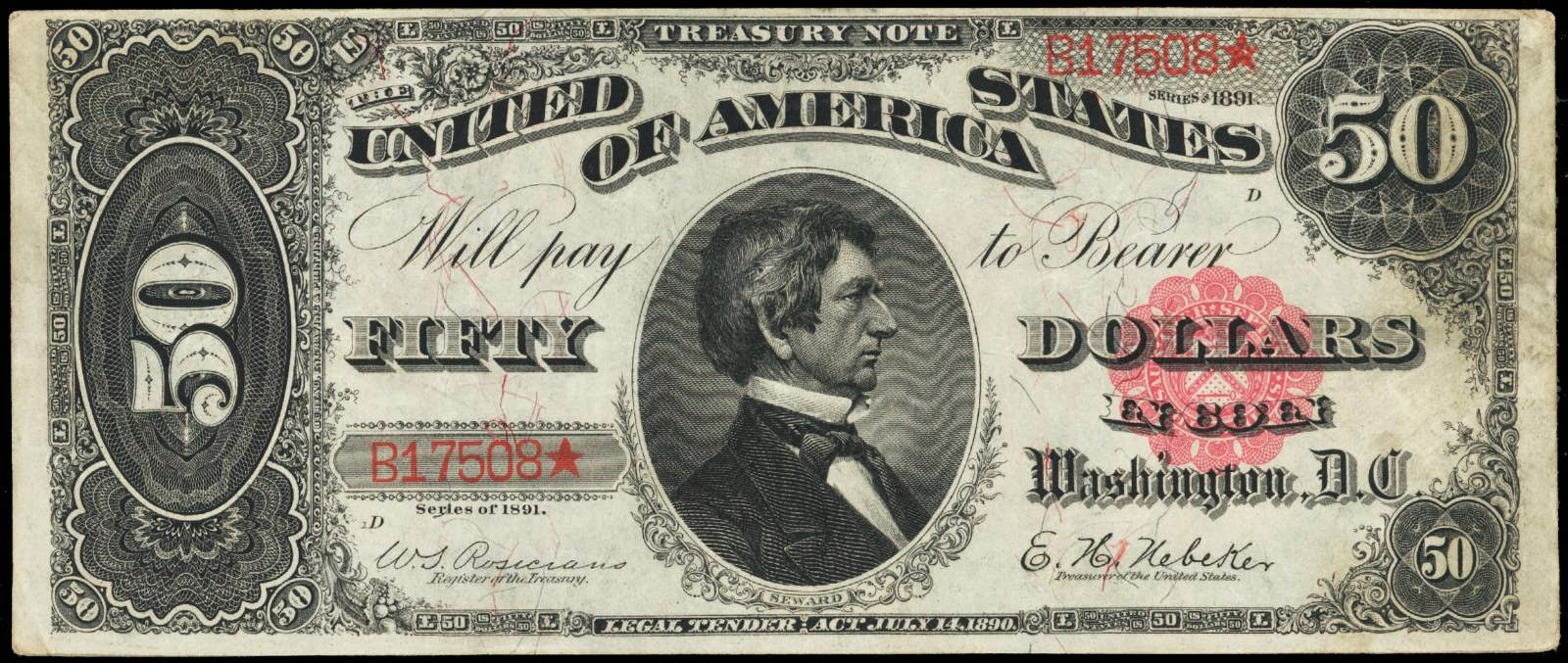 US currency 1891 50 Dollar Treasury or Coin Note William H. Seward