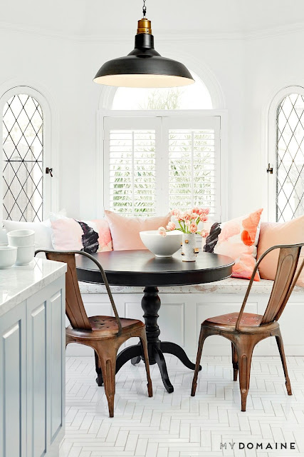 Bright dinning nook with herringbone white floors, bronze metal chairs, and a black pendant light {Cool Chic Style Fashion}