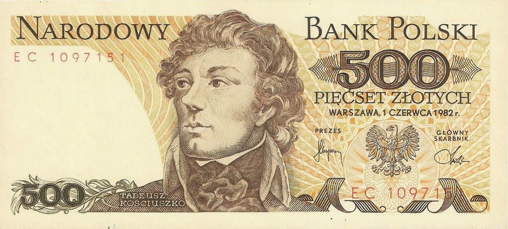 Poland Banknotes 500 Zloty banknote 1982 Tadeusz Kosciuszko