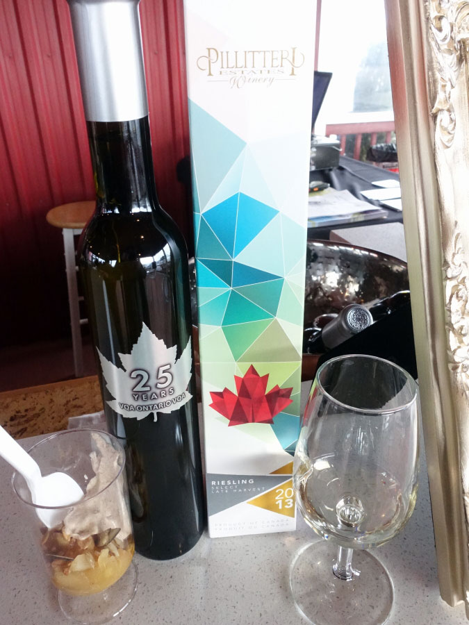 Pillitteri 25th Anniversary Select Late Harvest Riesling 2013 (88+ pts) with caramel apple crumble parfait