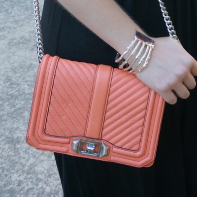 Rebecca Minkoff chevron quilted small Love crossbody bag in pale coral | away from the blue