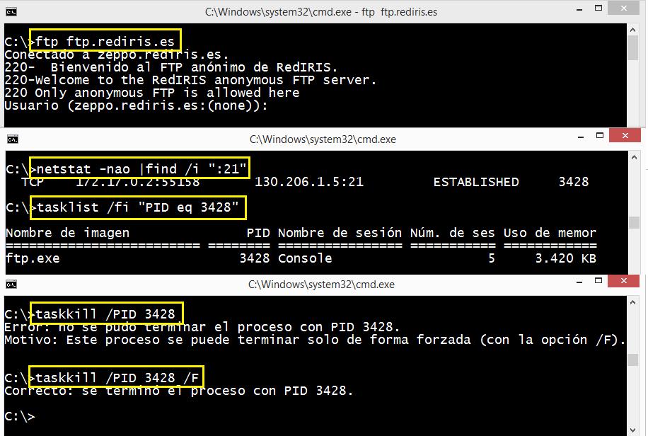 Windows: Eliminar conexiones activas tcp