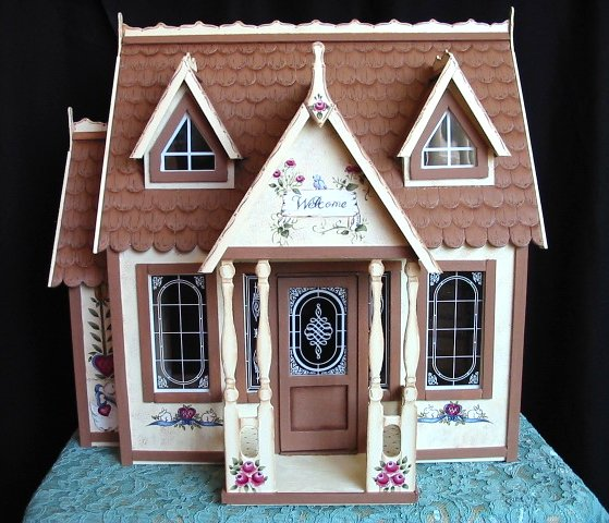 Hand Painted Folk Art Dollhouse