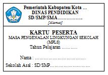 Contoh Kartu Peserta MPLS Sekolah (Docx)