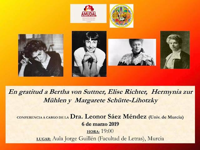 """""""En gratitud a Bertha von Suttner, Elise Richter, Hermynia zur Mühlen y Margarete Schütte-Lihotzky """" a cargo de Leonor Sáez Méndez"""