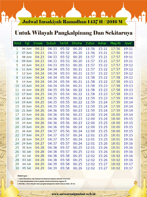 Jadwal Imsakiyah Ramadhan 1437 H / 2016 M Untuk Kota Pangkal Pinang