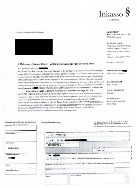 Scan: Mahnung I. E. Company / Mai 2019
