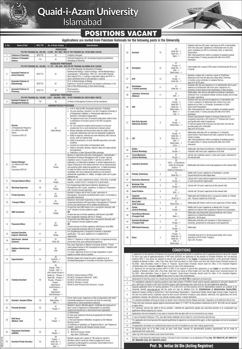 Quaid i Azam University Islamabad Jobs | Application Form Download | September