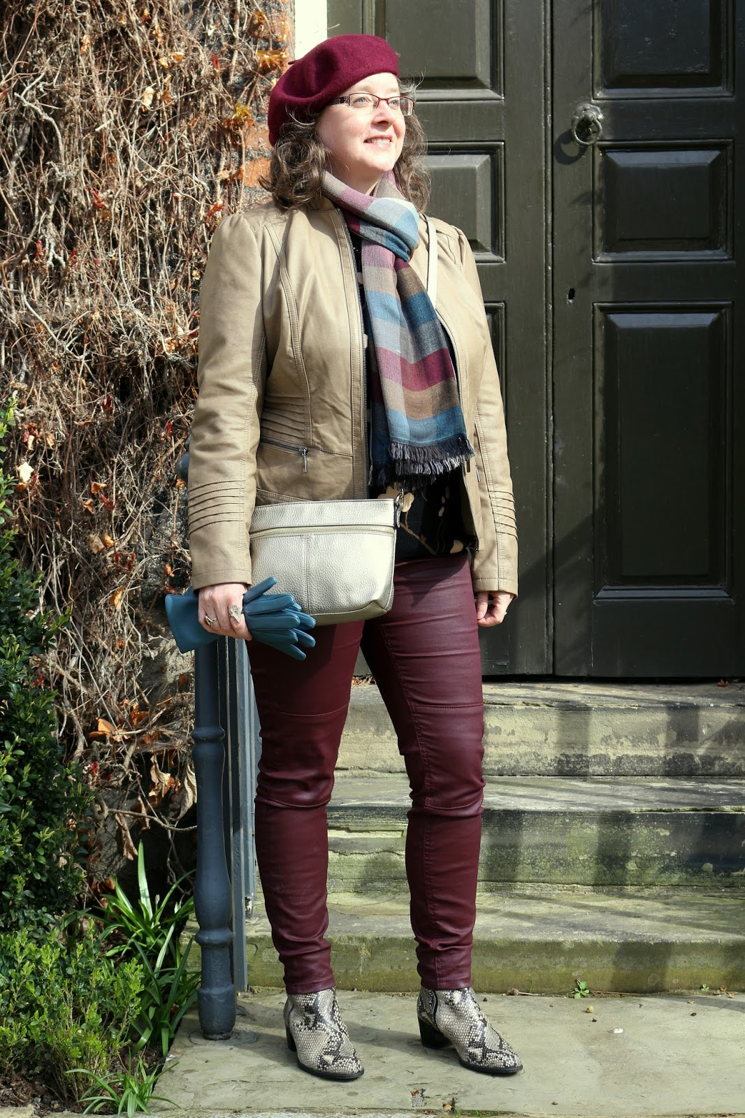 Stylish Look on a Budget; Faux Leather Jacket, Burgundy Coated Biker Jeans, Snakeskin Boots, beret, teal gloves | Petite Silver Vixen, over 40 style