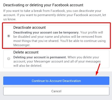 facebook account deactive kaise kare