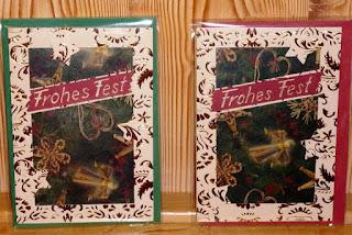 Weihnachtskarten mit Transparentpapier und Glanzkarton