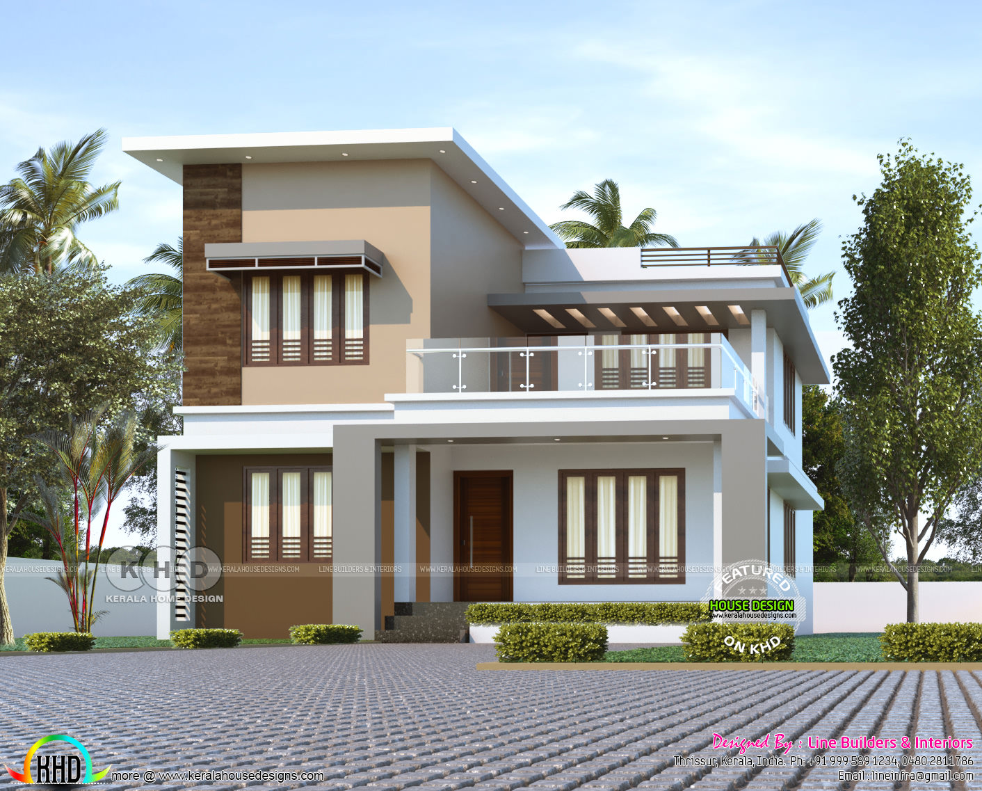 1780 Sq Ft 3 Bedroom Flat Roof House Plan Kerala Home Design And Floor Plans 8000 Houses