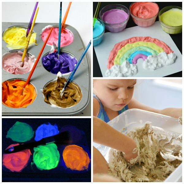 36 AMAZING KID PROJECTS USING SHAVING CREAM.  These are too fun!