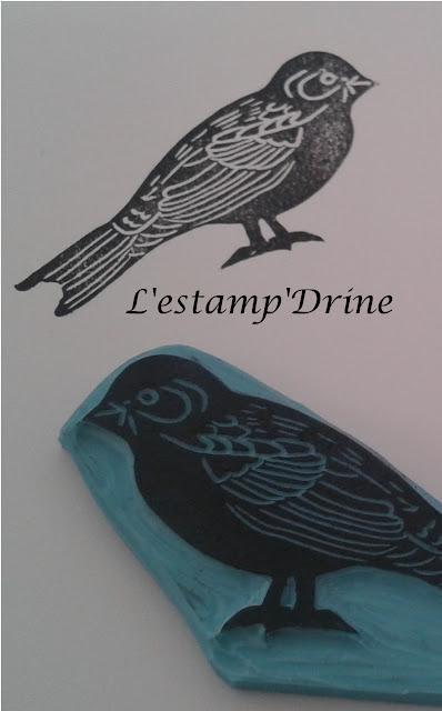 gravure sur gomme oiseau