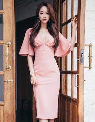 vestido coreano largo rosado juvenil tumblr 2018