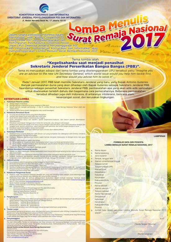 Lomba Menulis Surat Remaja Nasional 2017