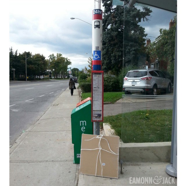 drywall waiting for a bus