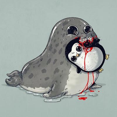 Lobo marino devorando un pinguino Caricaturas tiernas