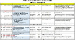 Jadwal Pra Kuliah PSPP Makassar