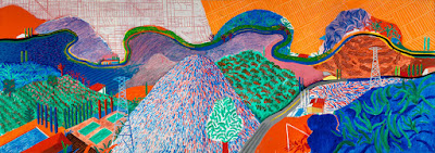 Mulholland Drive, The Road to the Studio, 1980, David Hockney. Acrylic on canvas