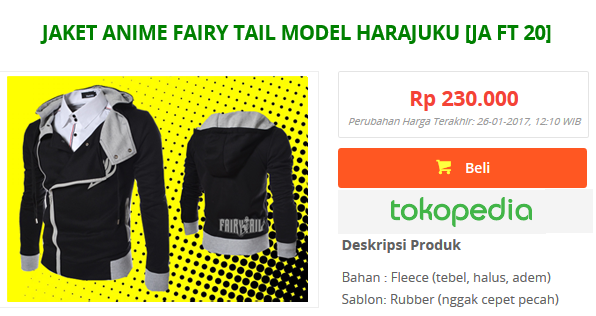 Jaket Anime Fairy Tail Model Harajuku