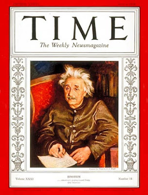 1938 Times magazine Albert Einstein wearing leather jacket on the cover page