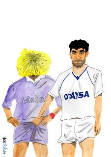Míchel y Carlos Valderrama
