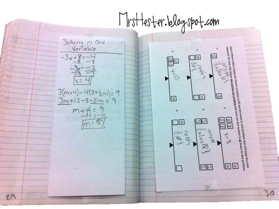 Mrs. Hester\'s Classroom : Solving in One Variable