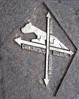 As Quatro Direções Apontadas em Uma das Calçadas de Cusco