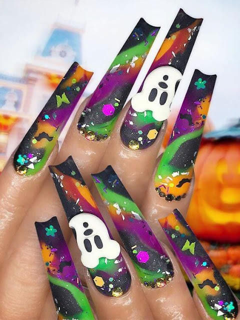 With Halloween Day finally here and on a Wednesday no much time ✘ 37+ Halloween Ghost Nail Art Ideas With Tips to DIY Ghost Manicures