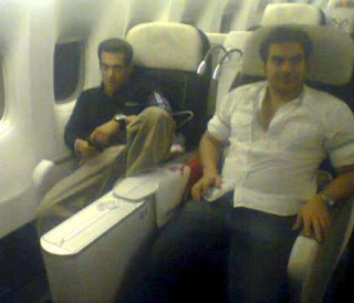 Salman Khan in his private jet with brother Arbaaz