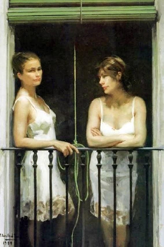 Mujeres en el balcón, Félix Revello de Toro, Revello de Toro, Pintores Malagueños, Retratos de Revello de Toro, Pintor español, Pintores de Málaga