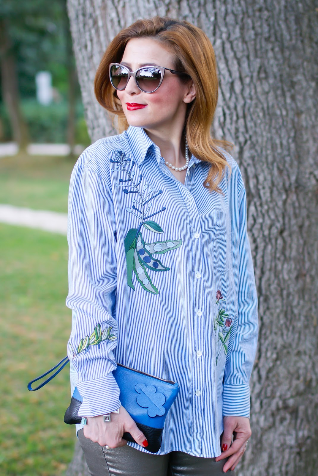 embroidered bank stripes Gant shirt Fashion and Cookies fashion blog, fashion blogger style