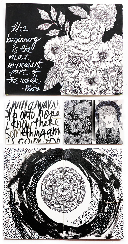A peek inside my black and white art journal