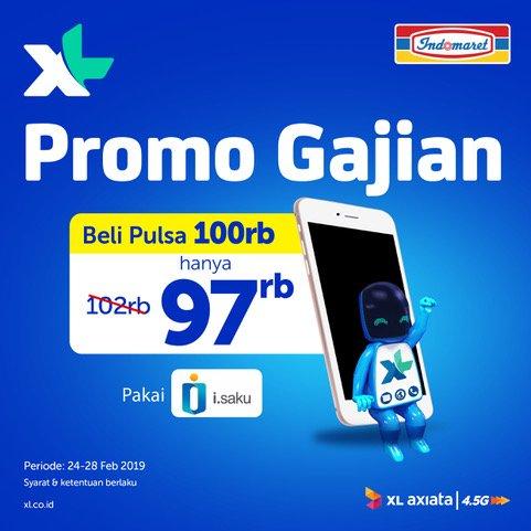 #Indomaret - #Promo Gajian Pulsa XL 100 Ribu Hanya 97 Ribu Pakai I-SAKU (s.d 28 Feb 2019)