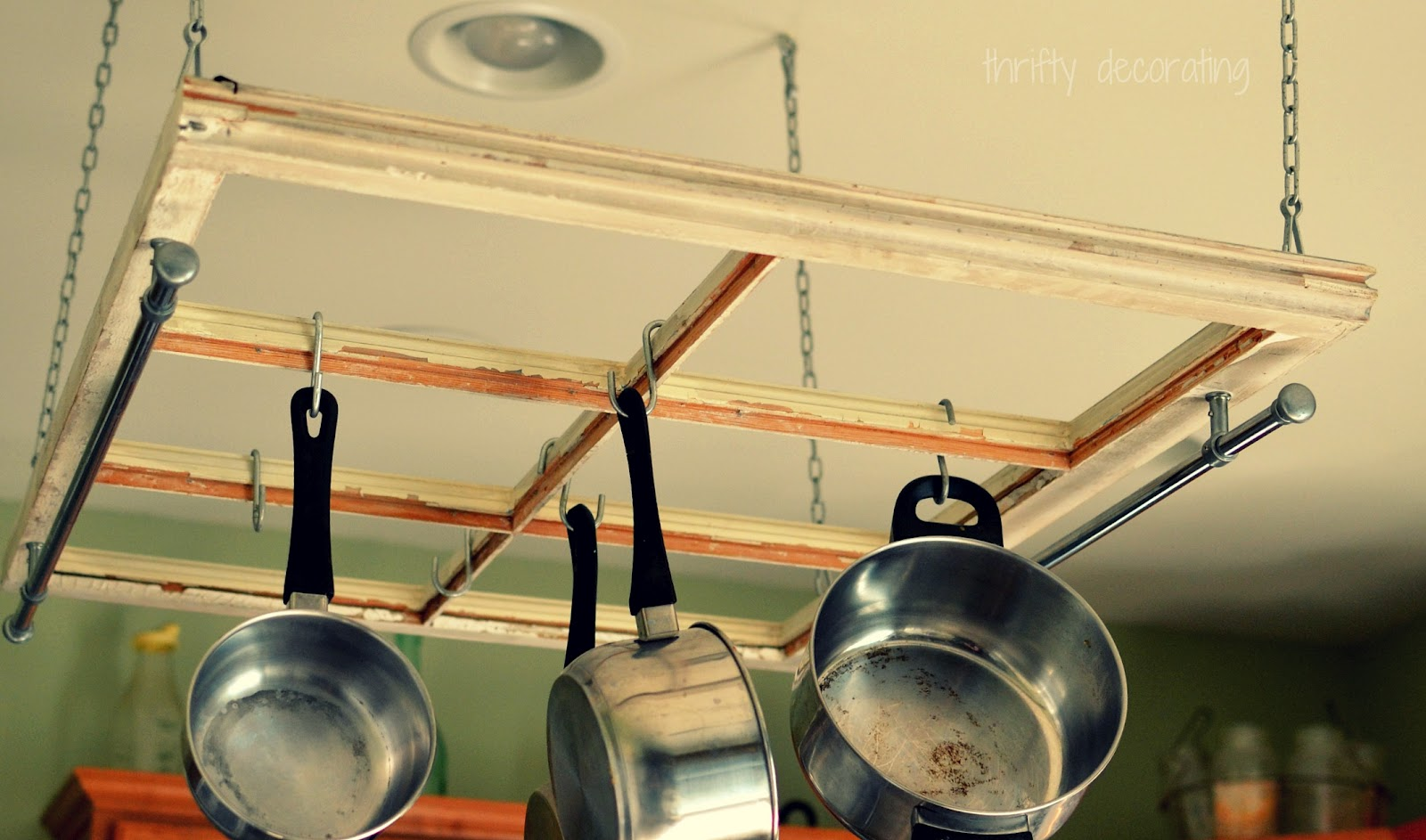Thrifty Decorating Turn An Old Window Into A Pot Rack
