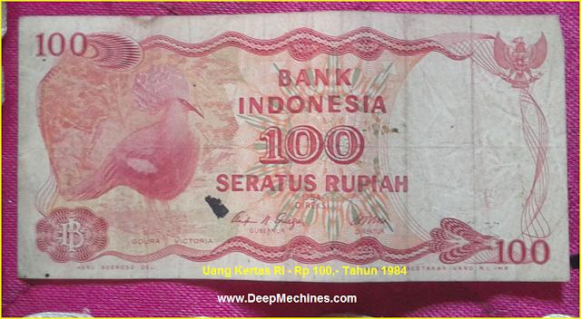 Gambar bagian Belakang Uang Kertas RI - Rp 100,- Tahun 1984