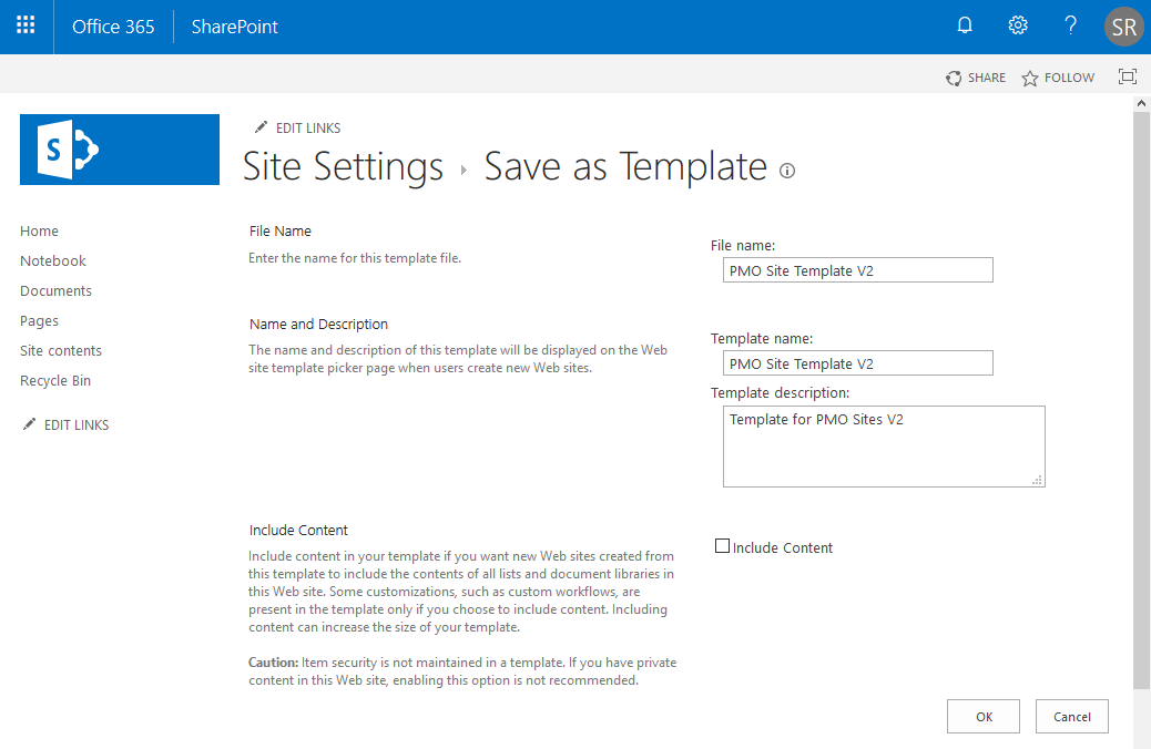 sharepoint online how to save site as template