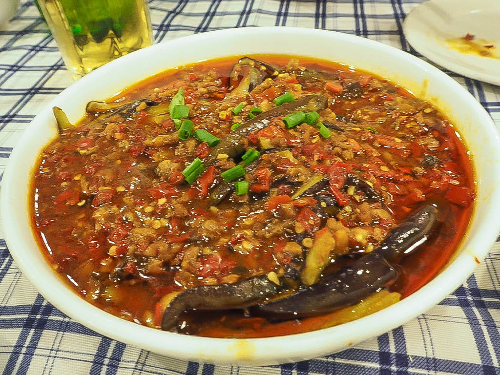 Aubergine and pork mince at Di Shui Dong, Shanghai