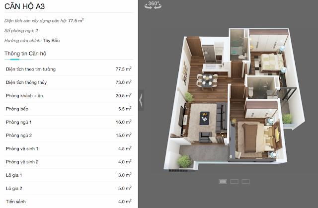 Thiết kế chi tiết căn A3 chung cư The Legend