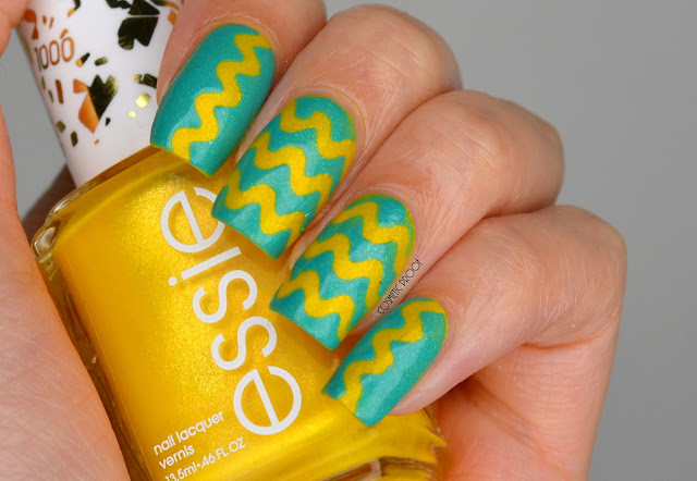 Essie Yellow and Green Taping Nail Art