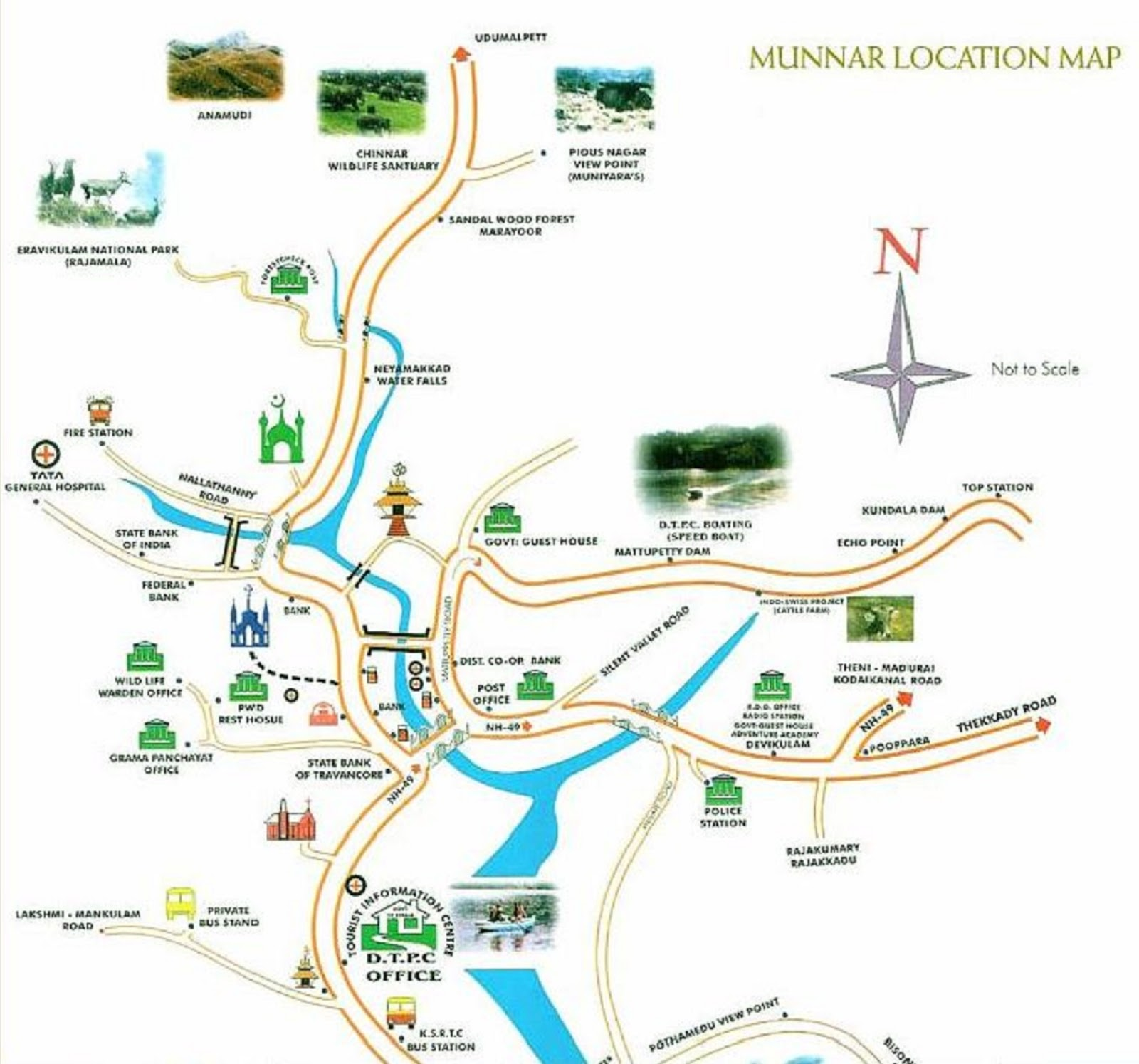 tourist map munnar ooty attractions tourism india hill station trip unknown around