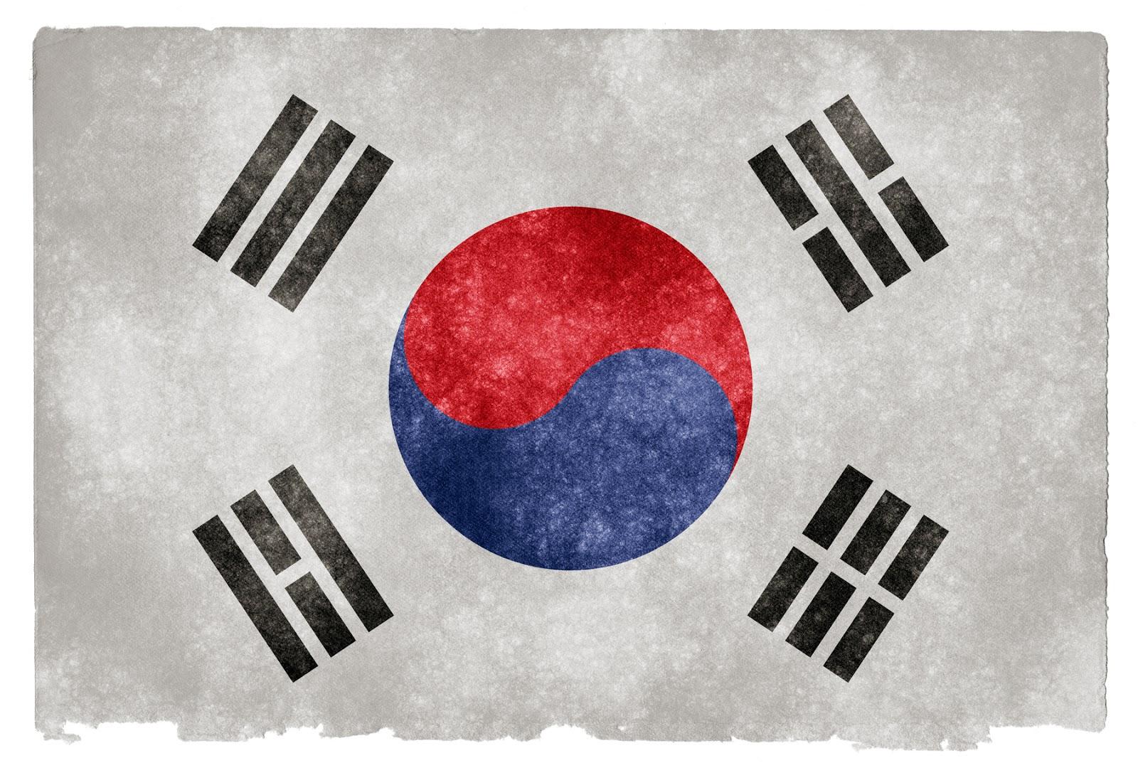 Bandeira da Coréia, com seus 4 característicos trigramas do I Ching, o Livro das Mutações