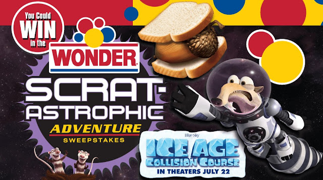 Wonder Bread and Twentieth Century Fox are celebrating the release of Ice Age Collision Course by giving you a chance to enter once to win the ultimate family adventure for you and the kids!