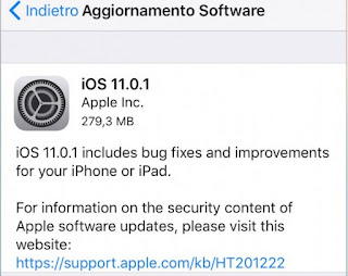 Apple rilascia iOS 11.0.1